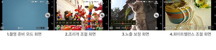 1.촬영 준비 모드 화면 2.조리개 조절 화면 3.노출 보정 화면 4.화이트밸런스 조절 화면